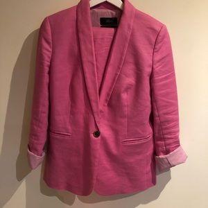 J Crew | Pink Linen Suit - Blazer and Capri pants